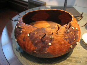 """California Basket attributed to POMO ~ Antique ~ 1850-1900 ~ 8"""" D X 3.75"""" H"""