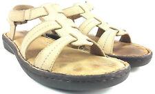 Minnetonka Women's Cream Open Toe Fisherman Leather Slingback Sandals Sz 8