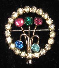 Gorgeous Vintage Art Deco Amethyst/Aquamarine/Sapphire/Peridot Glass Brooch