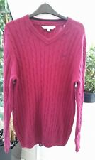 CREW CLOTHING MENS MAROON V-NECK 55% LAMBSWOOL CABLE KNIT JUMPER SIZE SMALL