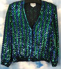 Vintage Retro Sequin Bomber Jacket L Made USA Blue Green Black Mesh