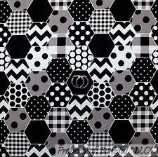 BonEful Fabric FQ Cotton Quilt VTG Black White B&W Stripe Dot Chevron Hip Calico