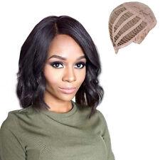 100% REAL LOOK ! WOMEN NEW BLACK MEDIUM NATURAL WAVY WIG HUMAN HAIR W/ WIG CAP
