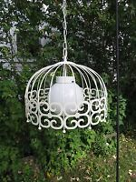 Vintage Hanging Pendant Chandelier Scroll Light Fixture with White Ball Globe