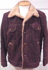 Vintage JCPenney Split Cowhide Suede Shearling Bomber Jacket Brown Size 46