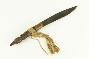 =Antique 1800/1900's Tibetan Knife Dagger Carved Wood Handle with Warrior Deity