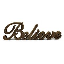 """Rustic Vintage Wooden Words Sign Free Standing """"Believe"""" Home Wall/Office Decor"""