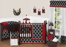 Sweet Jojo Designs Red & Black Geometric Trellis Baby Boy Girl Crib Bedding Set