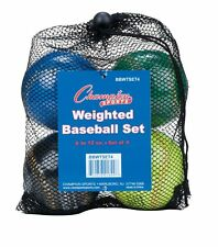 New Champion Weighted Training Baseballs Set 4, 1-9, 1-10, 1-11, 1-12oz. & Bag