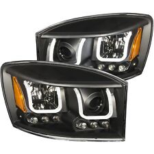 ANZO PROJECTOR HEADLIGHTS U-BAR BLACK CLEAR FOR 06-08 DODGE RAM 1500 #111314