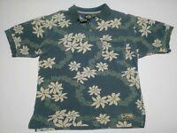 Tommy Bahama Blue/Green and White Hawaiian Men's Cotton Polo Shirt Sz Large EUC