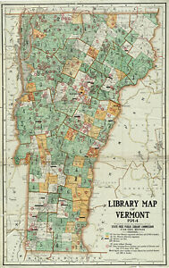 """1914 Library Map of Vermont Librarian Teacher Curator Gift Ideas 10""""x16"""" Poster"""