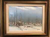 Listed Artist John Loo Oil Painting On Canvas Signed winter Bridge Snow Houses