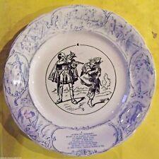 1960  Ancienne assiette à dessert humour n 6 Roi Dagobert à la chasse au pivert