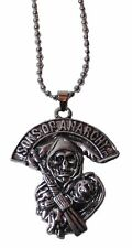 """Sons of Anarchy GRIM REAPER Silvertone PENDANT Necklace with 20"""" Chain"""