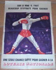 AFFICHE LOTERIE NATIONALE Boxing BOXE Sur le Ring CARLOTTI Original 1967