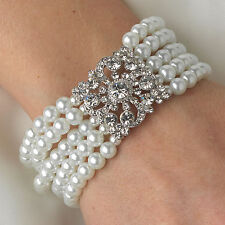 Bridal 5 Row Rhinestone Crystal Floral Square & White Pearl Stretch Bracelet