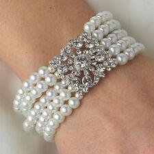 Bridal 5 Row Rhinestone Crystal Floral Square & White Pearl Stretch Bracelet