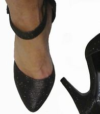 Black Glitter Pointed Pointy Ankle Strap High Stiletto Heels Pumps Shoes 7.5