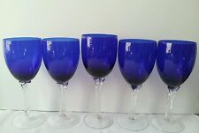 Set of 5 Elegant Colbalt/Royal Blue Wine Glasse with Clear Stems