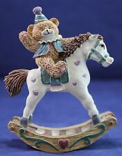 """Teddy Bear Birthday Hat On Rocking Horse Collectible Display 4"""""""