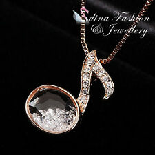 18K Rose Gold Plated Glass Crystal Shinny Swan Necklace Jewellery
