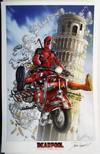 DEADPOOL w TRICKED OUT SCOOTER Print HAND SIGNED by Jamie Tyndall w COA