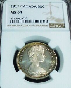 1967  CANADA SILVER HALF DOLLAR -  NGC GRADED - 50 CENTS  MS64 TONED
