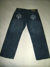 Mens Denim Jeans Embroidered Skull Pockets Hip Hop Tag Size 36 x 30 Urban Oscar