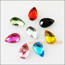 200 New Charms Mixed Teardrop Faceted Acrylic Rhinestone Flat Back 5x8mm