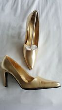LADIES GOLD STILETTO HIGH HEEL POINTED TOE UK 4