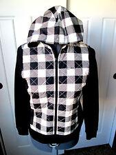 LAUREN RALPH LAUREN PXS Black/Ivory Quilted Lightweight Zip Front JACKET $130NWT