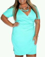 NEW PLUS SIZE 2X 18W SEXY PLUNGE V-NECK TEAL BLUE SOLID WIGGLE SHORT DRESS CLUB