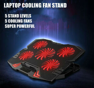 "Laptop Gaming Cooler Pad 5 Extra Big Powerful Fans with stand LED lights 12""-17"""