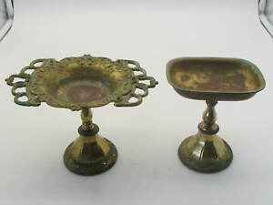 Vintage Brass Pedestal Soap Dish and Tumbler/Toothbrush Holder Set