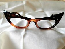 "RARE 1950'S  POINTED  ""CAT-EYE""  STYLE FRAME IN AMBER COLOR NEW & NEVER SOLD"