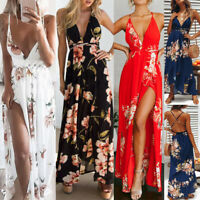Lady Sexy V-Neck High Slit Sleeveless Floral Evening Cocktail Party Maxi Dress