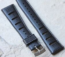 Black 20mm Tropic strap type slotted NOS vintage divers watch dive 73 sold here