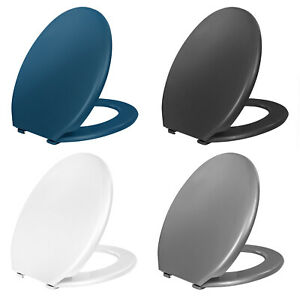 Toilet Seat Plastic Coloured Quick Release Easy Clean Hinged Oval Shape Bathroom