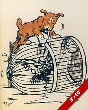 NAUGHTY PET PUPPY DOG ON BIRD CAGE ART CECIL ALDIN PAINTING PRINT ON REAL CANVAS