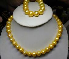 HUGE 11-13MM SOUTH SEA GENUINE GOLDEN PEARL NECKLACE + BRACELET 14K GOLD CLASP