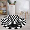 3D Printed Round Area Rug Vortex Illusion Carpets Door Mat Floor Mats Anti-slip