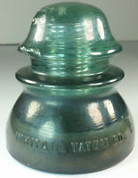 Whitall Tatum Co No 1 Teal Blue/Green Glass Insulator # 5