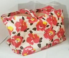 """Hibiscus Flower Bag Red White Tote Extra Large Cruise Beach Summer Travel 26x13"""""""
