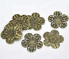 Pop 50 Pop Bronze Tone Filigree Flower Wraps Connectors 36x36mm