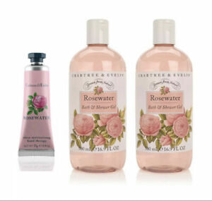 Crabtree & Evelyn Rosewater Bath & Shower Gel 16.9 oz X2 Gift Set *Bonus Lotion*