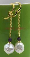 Mesmerizing natural 12-15MM HUGE baroque south sea pearl earrings 18K GOLD