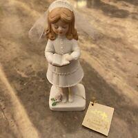 "Lovely 7"" My First Communion Prayer Girl Figure Ceramic Bisque Enesco Bible"