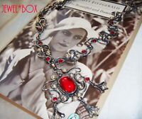 VINTAGE JEWELLERY Glamour Ruby Cabochon Crystal BAROQUE Jewels of India NECKLACE