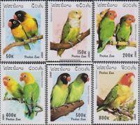 Laos 1564-1569 (kompl.Ausg.) postfrisch 1997 Papageien